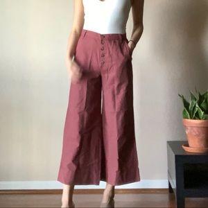 Button front wide leg culotte pants